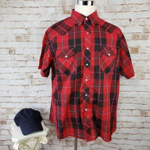 Wrangler Mens XL Red Plaid Pearl Snap S/S Shirt